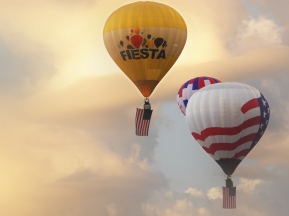 Albuquerque Balloon Fiesta Special Shapes right after Dawn Patrol the flying of the colors