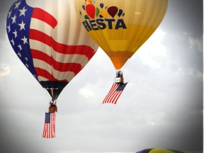 Albuquerque Balloon Fiesta Special Shapes at dawn the flying of the colors