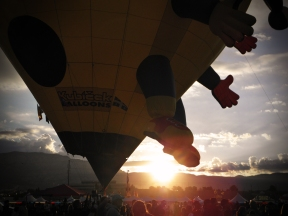 Albuquerque Balloon Fiesta Special Shapes Lady Joker with sunrise in background
