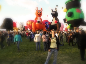 Albuquerque Balloon Fiesta Special Shapes Me with several special shapes in the background