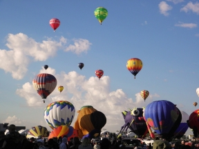 Albuquerque Balloon Fiesta Special Shapes Purple People Eater and teardrops