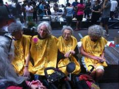Elderly protesting