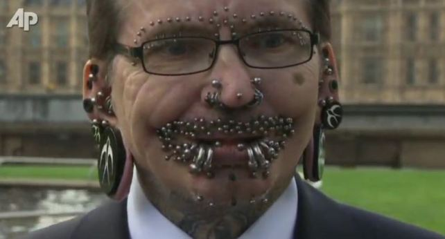 Man with the most piercings