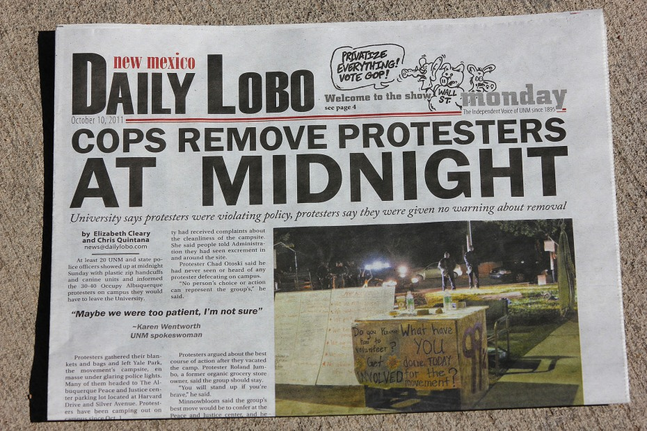 Daily Lobo newspaper about Occupy Albuquerque police raid