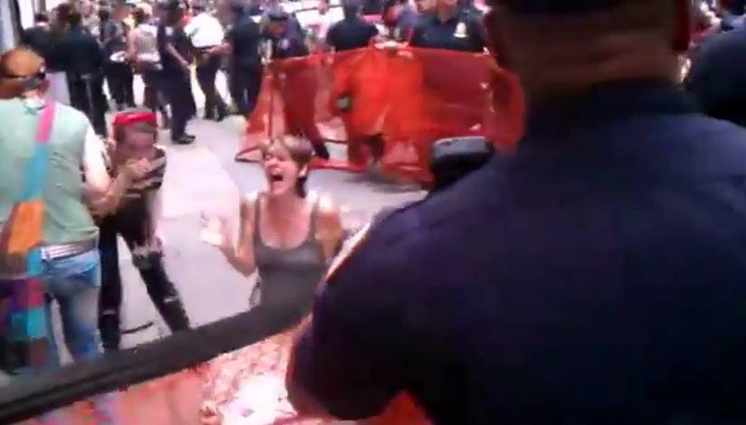 Wall street pepper sprayed woman