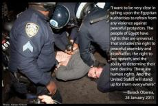 Barack Obama about the police leaving the Egyptian protesters alone