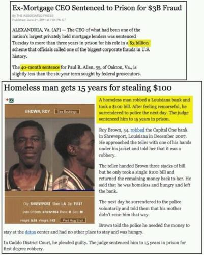 comparison of CEO conviction versus a homeless man