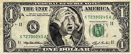 Dollar bill with George Washington holding his head