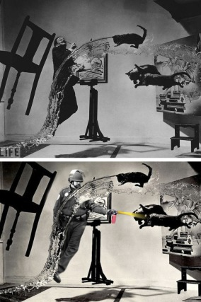 Lt John Pike pepper spraying cop and 'Dali Atomicus' Photo by Philippe Halsman