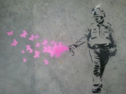 Lt John Pike pepper spraying cop as graffitti art spraying butterflies