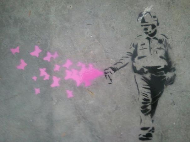 Lt John Pike pepper spraying cop as graffitti art spraying butterflies