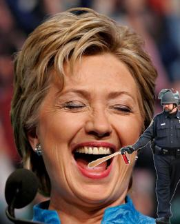 Lt John Pike pepper spraying Hillary Clinton in the mouth