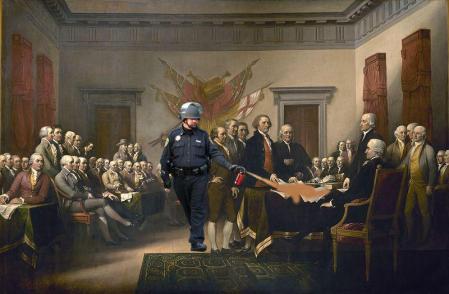 Lt John Pike pepper spraying John Trumbull's Declaration of Independence