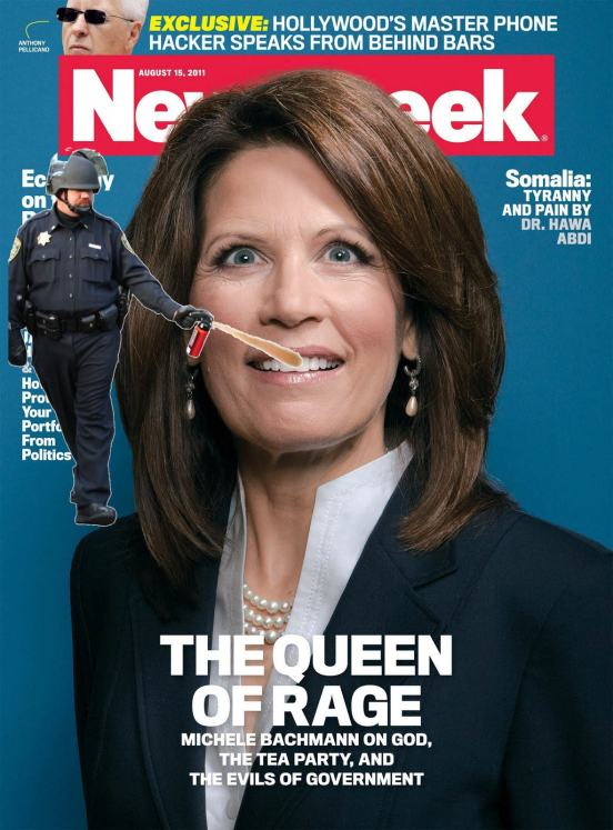 Lt John Pike pepper spraying Michele Bachmann in the mouth