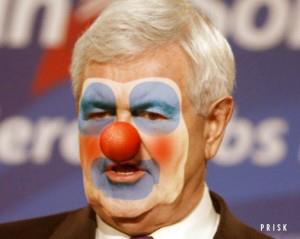 Newt Gingrich with a clown face