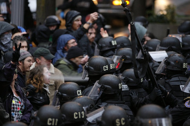 Occupy Portland photo woman hit directly in face with pepper spray