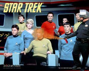 pepper spraying cop John Pike spraying Captain Kirk and crew of Star Trek