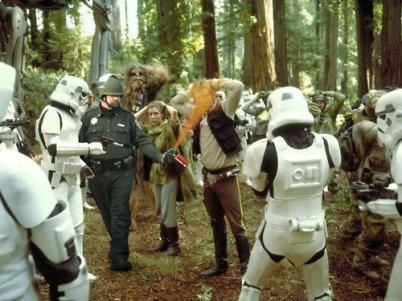 pepper spraying cop John Pike spraying Han Solo in Star Wars scene