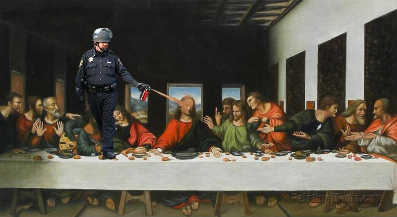 pepper spraying cop the Last Supper