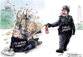 political cartoon with Lt John Pike pepper spraying congress