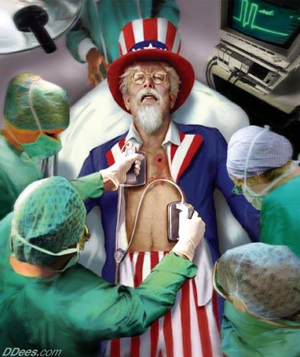 Satire defibrillating uncle sam