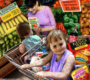 Satire genetically modified food and result on people and children