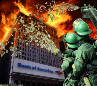 satire putting out fire at BofA with cash money