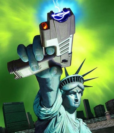 Satire Stature of Liberty with taser