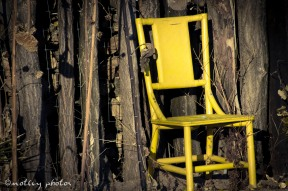 Yellow chair in front of fence 01