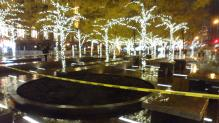 Zuccotti Park with Christmas lights