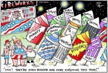 Cartoon on fireworks