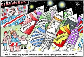Cartoon on fireworks