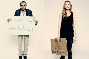 """Egyptian protester Emil Samir, left, holds a sign that reads, """"The People Want the Fall of the Field Marshall."""" Occupy Wall Street protester Chelsea Elliott says, """"I'm happy to get maced if it helps the movement. I'd do it again."""""""