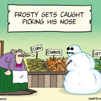 Frosty the Snowman gets caught picking his nose....