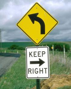 Keep right but turn left