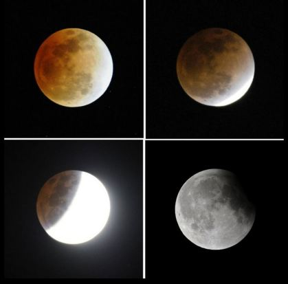 Four different moments of lunar eclipse in the sky in Beijing. (Photo credit: LIU JIN/AFP/Getty Images)