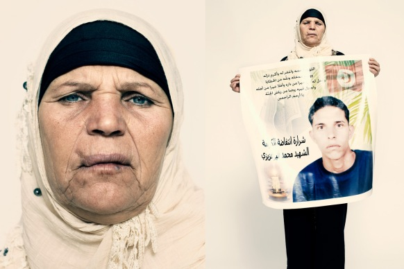 "Mannoubia Bouazizi, the mother of Tunisian street vendor Mohamed Bouazizi, says, ""Mohamed suffered a lot. He worked hard. But when he set fire to himself, it wasn't about his scales being confiscated. It was about his dignity."""