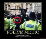 Police medic ironic photo with caption