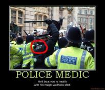 Police medic ironic photo with caption