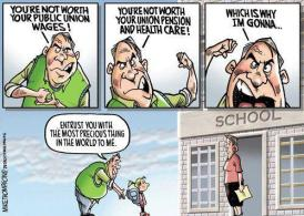 Political cartoon on education cuts