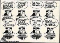 Political cartoon on not being able to own the sun ergo solar power