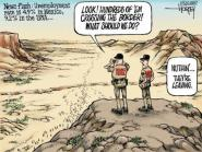 Satirical cartoon on people leaving the US to go to Mexico due to lower unemployment