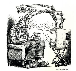 TV brainwashing satirical cartoon from 1977