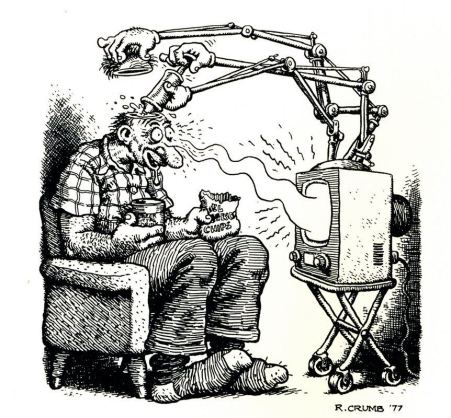 TV brainwashing satirical cartoon from 1977