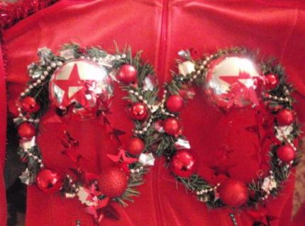Red velour with wreaths over breasts
