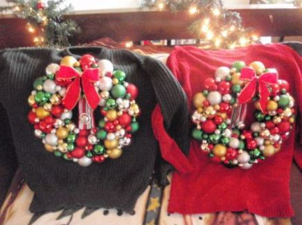 His and Hers matching sweaters with ornament wreaths