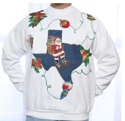 Santa flying over the state of Texas