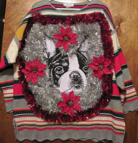 Boston Terrier Christmas Sweater.Ugly Christmas Sweater 21 Boston Terrior Surrounded By
