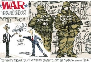 War trade show political cartoon