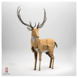 3D Origami Paper buck with antlers